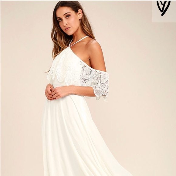 50fc2793ed94 White Off Shoulder Lace Maxi Dress